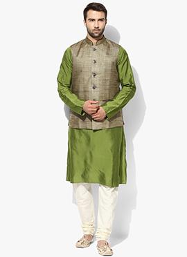 Grey N Green Benarasi Cotton Silk Bandi Set