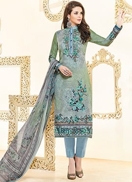 Grey N Green Dual Tone Cotton Satin Straight Pant Suit