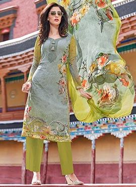 Grey N Green Georgette Palazzo suit