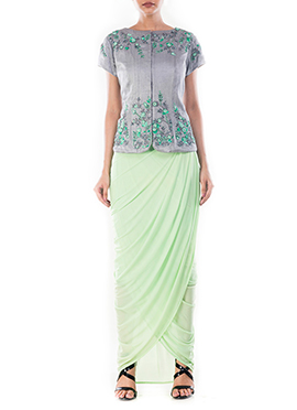 Grey N Light Green Draped Skirt Set
