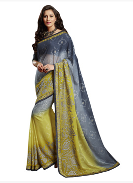 Grey N Lime Yellow Ombre Chiffon Brasso Saree
