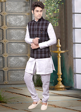 Grey N Maroon Rayon Nehru Jacket