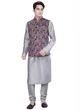 Grey N Multicolored Benarasi Silk Cotton Bandi Set
