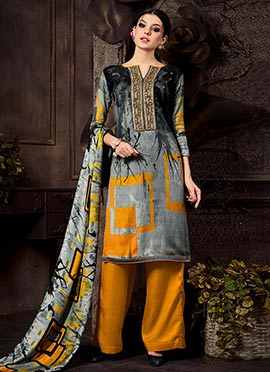 Grey N Mustard Blended Cotton Palazzo Suit
