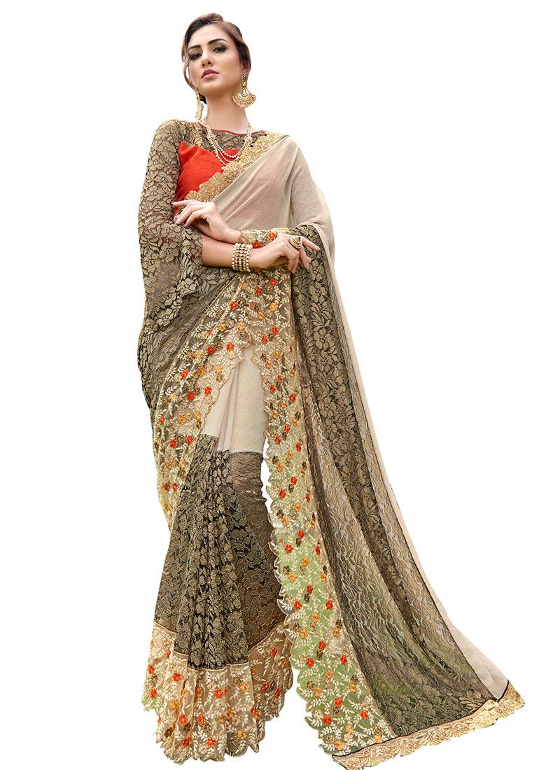 Buy Grey N Off White Chiffon Saree Embroidered Sari