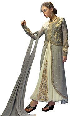 Grey N Off White Jacket Style Anarkali Suit