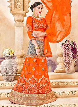 Grey N Orange Art Silk A Line Lehenga