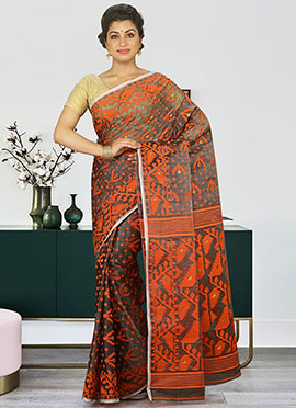 Grey N Orange Cotton Jamdani Saree