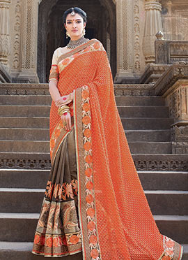 Grey N Orange Half N Half Saree