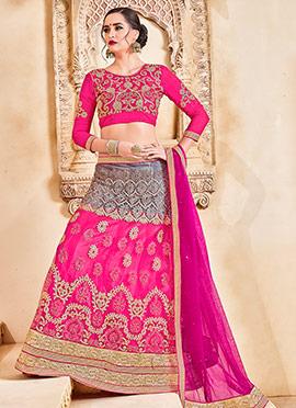 Grey N Pink Art Silk A Line Lehenga