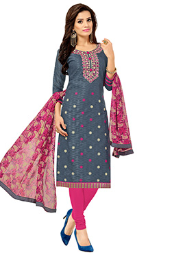 Grey N Pink Brasso Cotton Churidar Suit