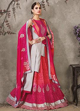 Grey N Pink Long umbrella Lehenga Choli