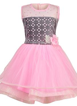 Grey N Pink Net Kids Dress