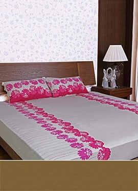 Grey N Pink Pure Cotton Bed Sheet