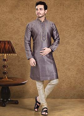 Grey N Purple Art Dupion Silk Kurta Pyjama