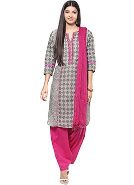 Grey N Rani Pink Cotton Semi Patiala Suit