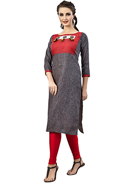Grey N Red Cotton Kurti
