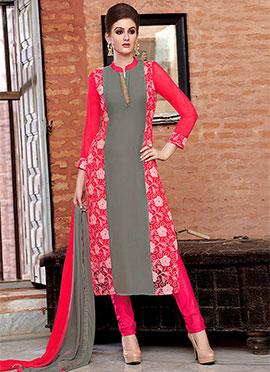 Grey N Red Georgette Churidar Suit