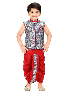 Grey N Red Jacquard Kids Dhoti Kurta Set