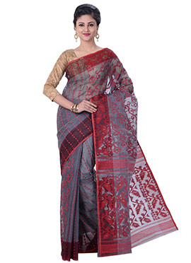 Grey N Red Jamdani Muslin Silk Saree