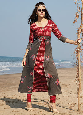 Grey N Red Viscose Kurti