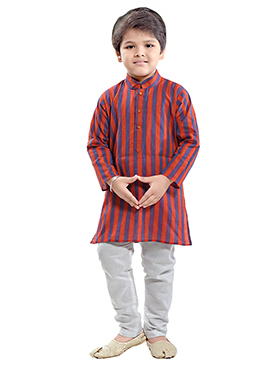 Grey N Rust Cotton Kids Kurta Pyjama