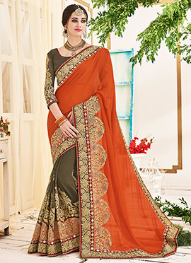 Grey N Rust Half N Half Saree