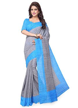 Grey N Turquoise Art Silk Saree