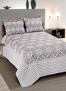 Grey N White Cotton Bed Sheet Set