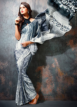 Grey N White Crepe Saree