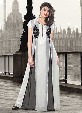 Grey N White Gown