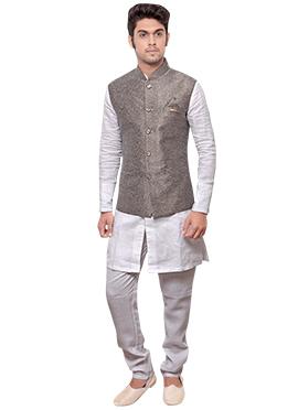 Grey N White Linen Bandi Set