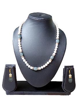 Grey N White Necklace Set