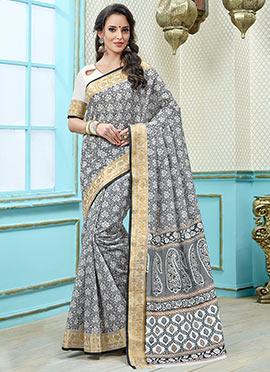 Grey N White Printed Saree