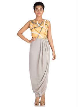 Grey N Yellow Georgette Dress