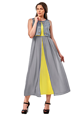 Grey N Yellow Poly Cotton Long Kurti