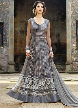 Grey Net Abaya Style Anarkali Suit
