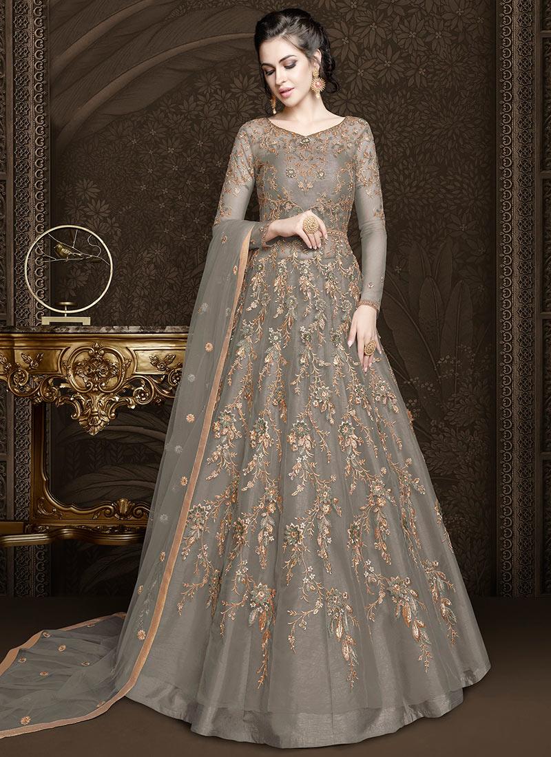 af7046beaf Buy Grey Net Anarkali Lehenga, Sequins , Zari , Embroidered, a line ...