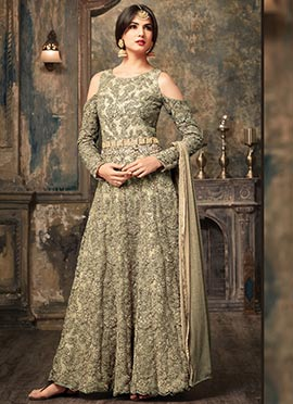 Grey Net Cold Shoulder Abaya Style Anarkali Suit