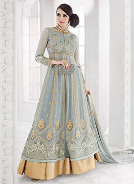 Grey Net Georgette Abaya Style Anarkali Suit