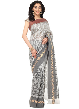 Grey Organza Foliage Designed Saree