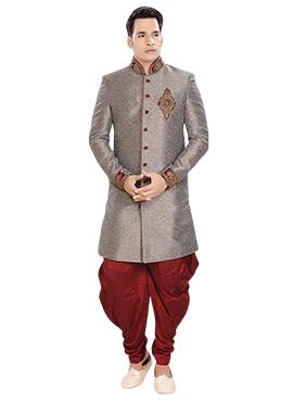 Grey Patiala Style Sherwani
