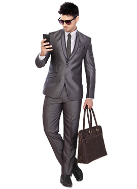 Grey Poly Cotton Lapel Suit