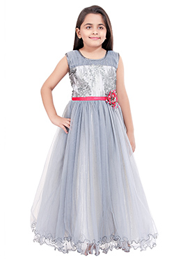 Grey Polyester Net Girls Gown
