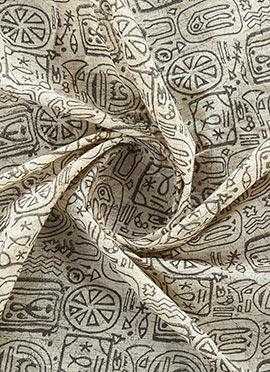Grey Printed Cotton Fabric