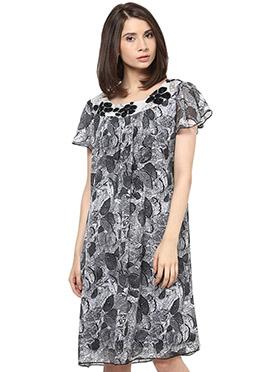 Grey Printed Georgette Shakumbhari Midi Dress