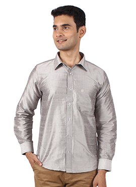 Grey Pure Dupion Silk Shirt