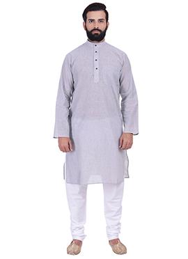 Grey Pure Handloom Cotton Kurta Pyjama