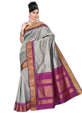 Grey Pure Kancheepuram Silk Saree