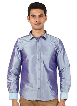 Grey Pure Raw Silk Shirt